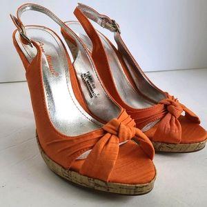 BRAND NEW Orange Twist Top Cork Heels